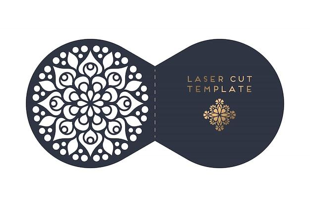 Tarjeta de corte de boda plantilla de corte por láser