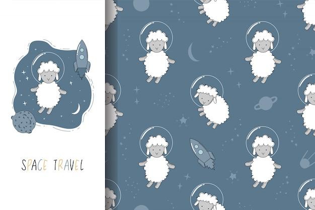 Tarjeta de cosmonauta de oveja dibujada a mano y conjunto de patrones sin fisuras.