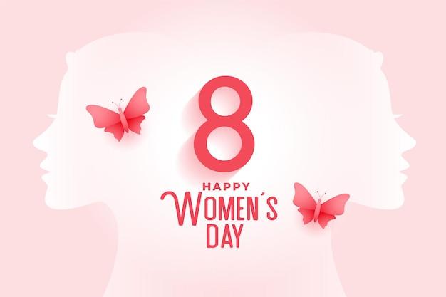 Tarjeta creativa del día de la mujer feliz con mariposa.