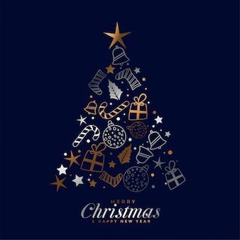 Tarjeta creativa feliz festival de navidad con elementos decorativos
