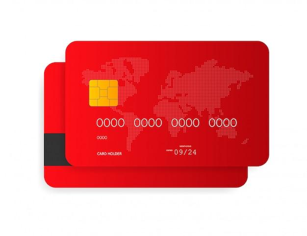 Tarjeta de crédito azul aislada en blanco