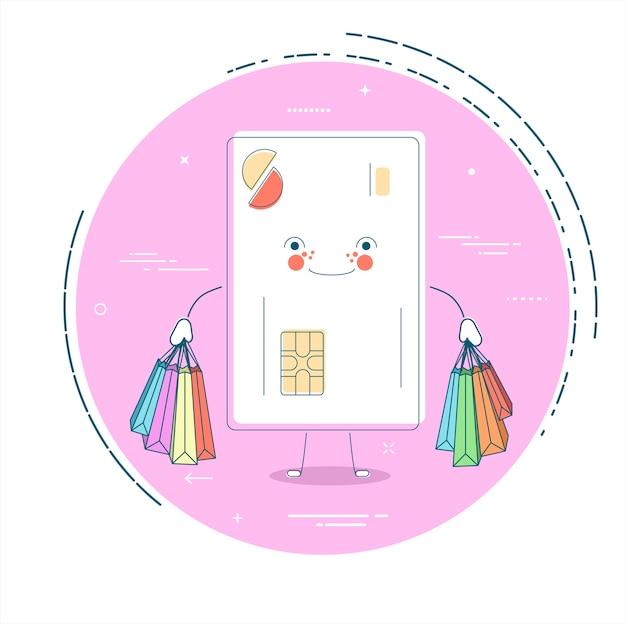 Tarjeta de crédito con bolsas en estilo line art.