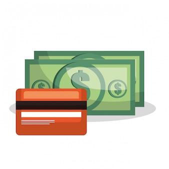 Tarjeta de crédito cuenta dinero dólar aislado