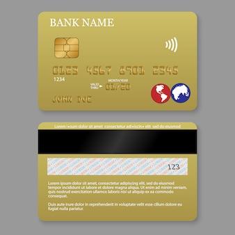 Tarjeta de crédito detallada realista.