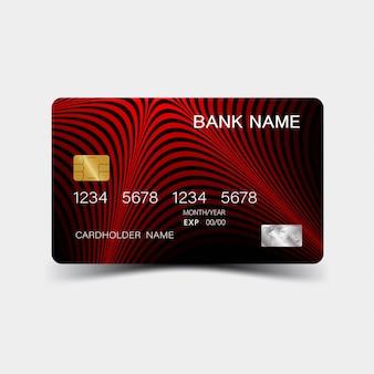 Tarjeta de crédito. con diseño de elementos rojos.