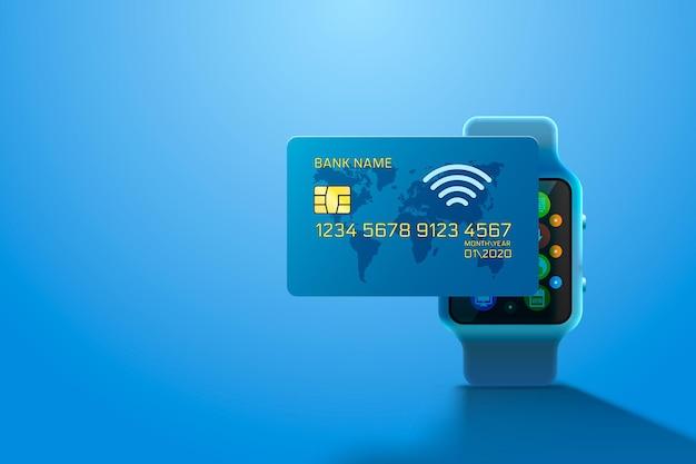 Tarjeta de crédito electrónica y reloj, tecnología financiera, aislado en azul.