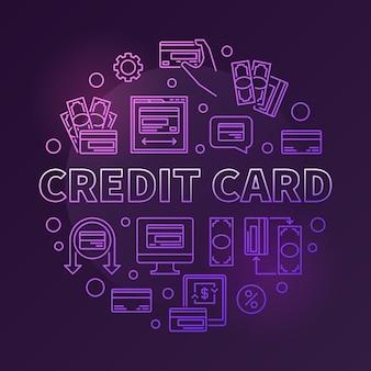 Tarjeta de crédito enrollada alrededor de ilustración de esquema