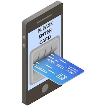 Tarjeta de crédito en entrada de cajero automático