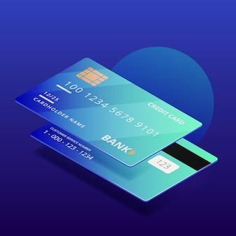 Tarjeta de crédito de estilo isométrico