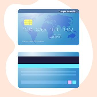 Tarjeta de crédito estilo realista vista frontal posterior banca en línea comercio electrónico compras en internet pagos