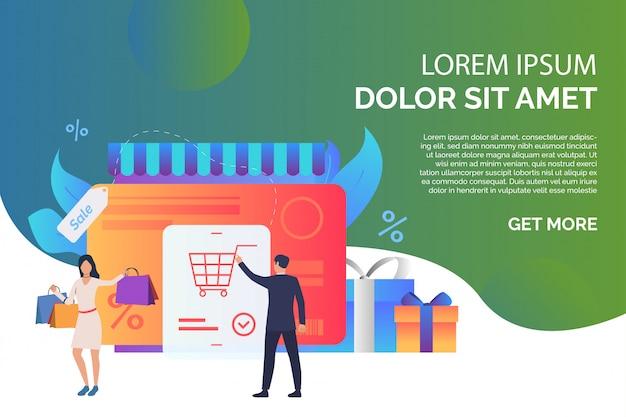 Tarjeta de crédito con ilustración de compradores y cajas de regalo.