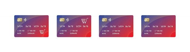 Tarjeta de crédito maqueta, tarjeta de crédito paywave, shopping car,