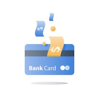 Tarjeta de crédito, método de pago, servicios bancarios, préstamo fácil, ilustración del programa de devolución de efectivo