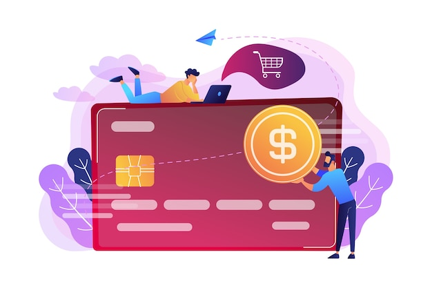 Tarjeta de crédito con moneda de dólar e ilustración de usuarios.