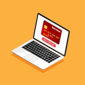 Tarjeta de crédito en la pantalla de una computadora portátil en estilo isométrico