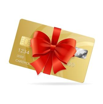 Tarjeta de crédito presente. el concepto de producto de lujo