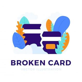 Tarjeta de crédito rota el concepto de banca móvil y cierre de una cuenta bancaria.