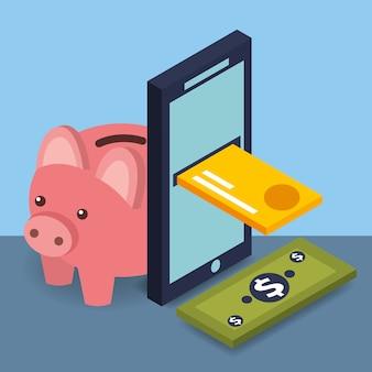 Tarjeta de crédito de smartphone billete de banco