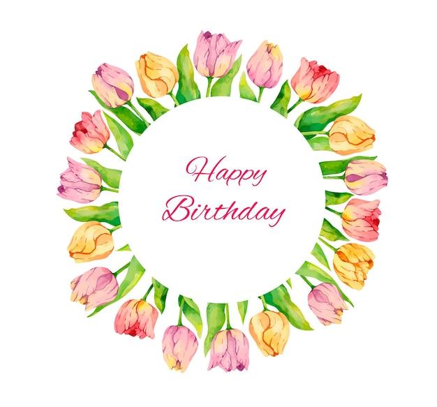 Tarjeta de cumpleaños en acuarela con tulipanes
