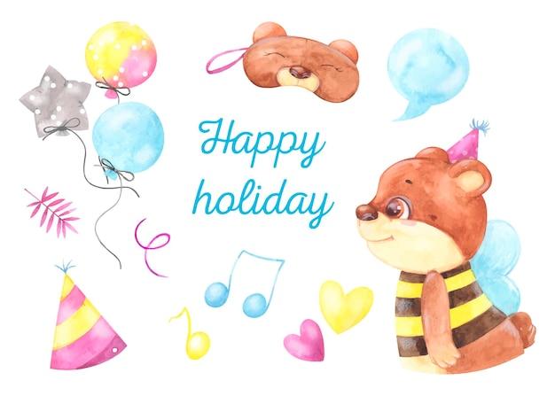 Tarjeta de cumpleaños acuarela vacaciones conjunto de ilustraciones