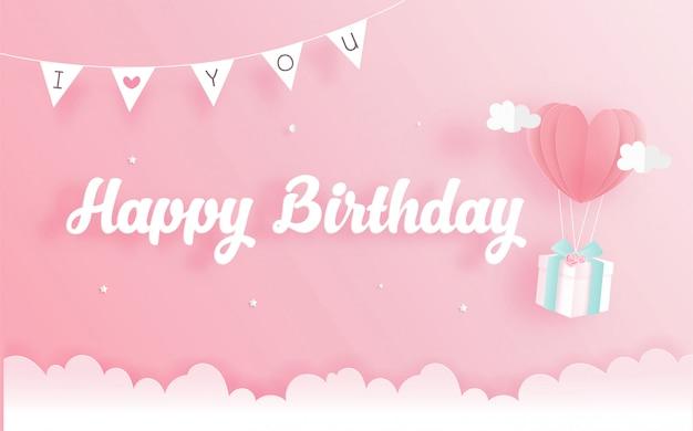 Tarjeta de cumpleaños con caja de regalo en papel cortado estilo. ilustración vectorial