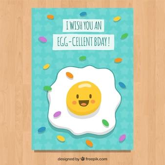Tarjeta de cumpleaños con caricatura de huevo frito
