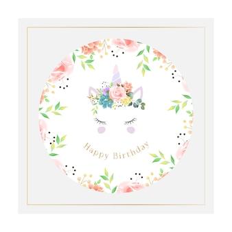 Tarjeta de cumpleaños circular unicornio hermoso