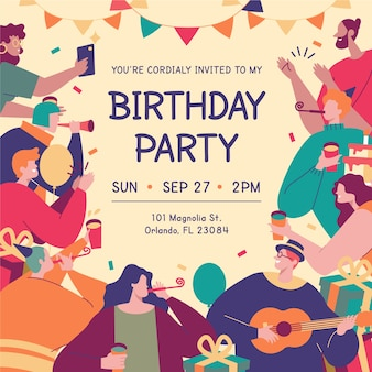 Tarjeta de cumpleaños colorida con diferentes personajes ilustrados