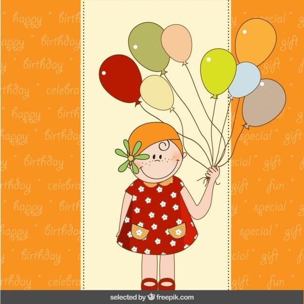 Tarjeta de cumpleaños colorida con la muchacha linda y los globos