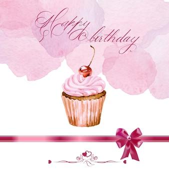 Tarjeta de cumpleaños con cupcake acuarela. ilustración vectorial.