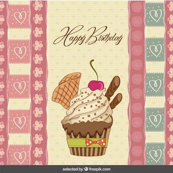 Tarjeta de cumpleaños con cupcake dibujado a mano