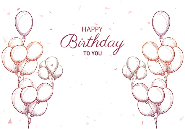 Tarjeta de cumpleaños dibujada a mano con globos