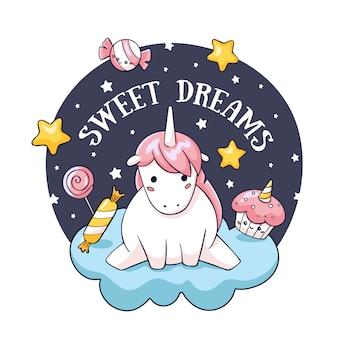 Tarjeta de cumpleaños con doodle unicornio en nube y dulces