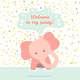 Tarjeta de cumpleaños con el elefante bebé
