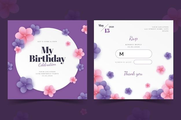 Tarjeta de cumpleaños elegante / plantilla de invitación