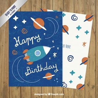 Tarjeta de cumpleaños espacial