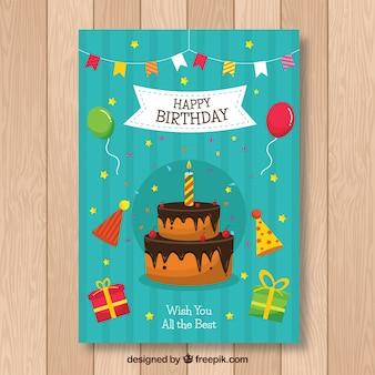 Tarjeta de cumpleaños en estilo plano