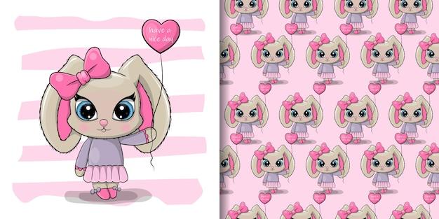 Tarjeta de cumpleaños de felicitación cute cartoon rabbit girl con un globo