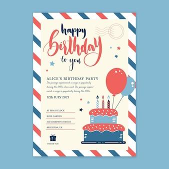 Tarjeta de cumpleaños infantil con globos.