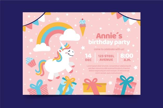 Tarjeta de cumpleaños infantil con unicornio