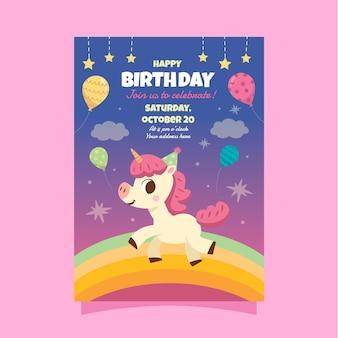Tarjeta de cumpleaños infantil unicornio