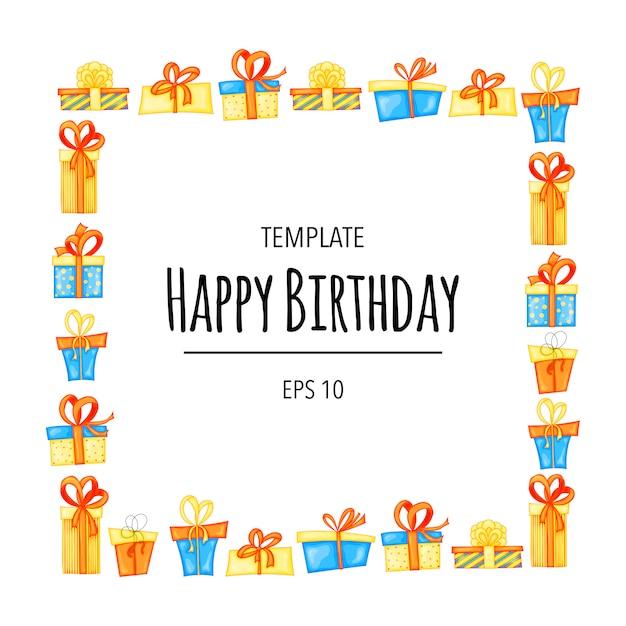 Tarjeta de cumpleaños. invitación con cajas de regalo de marco. estilo de dibujos animados