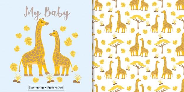 Tarjeta de cumpleaños jirafa linda mano dibujada de patrones sin fisuras