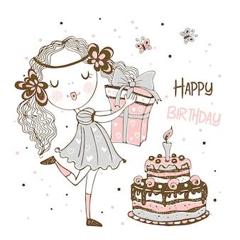 Tarjeta de cumpleaños con linda chica con regalos y pastel de cumpleaños.