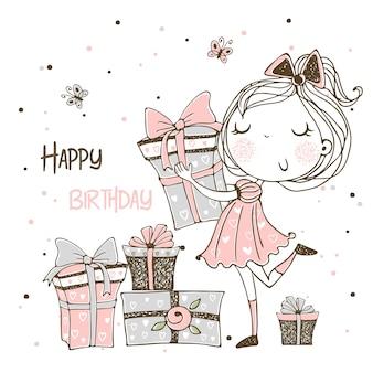 Tarjeta para el cumpleaños con una linda princesa y un gran pastel de cumpleaños.