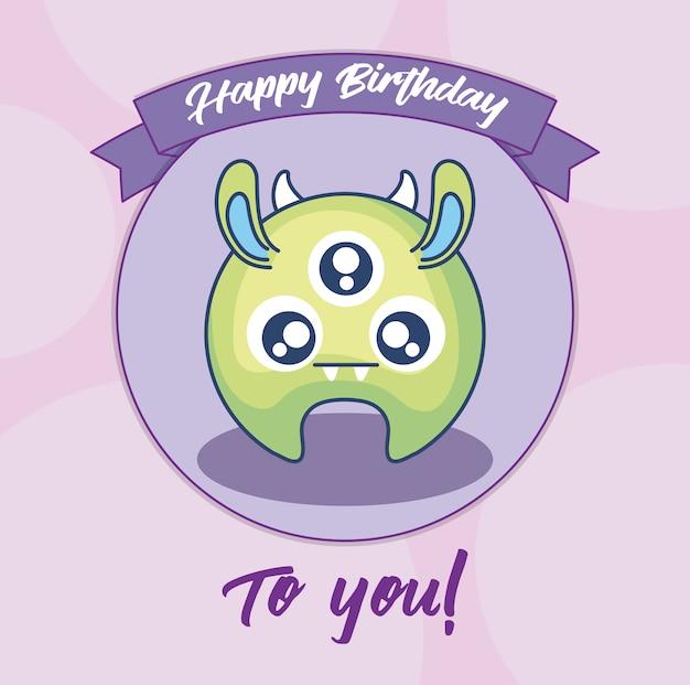 Tarjeta de cumpleaños con lindo monstruo y cinta