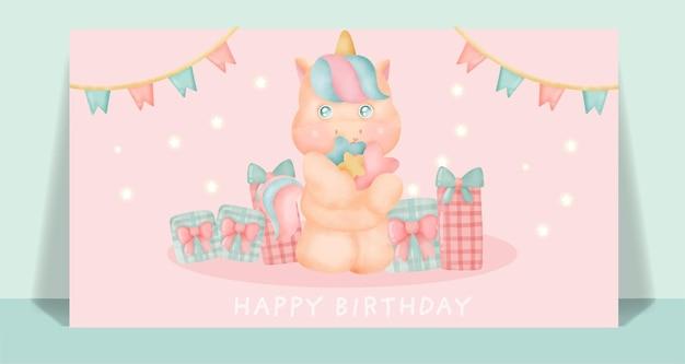 Tarjeta de cumpleaños con lindo unicornio sosteniendo la estrella.