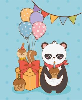 Tarjeta de cumpleaños con lindos animales del bosque.