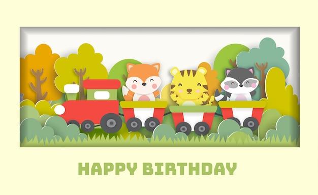 Tarjeta de cumpleaños con lindos animales de pie en un tren en el bosque para tarjeta postal de felicitación