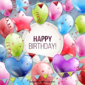 Tarjeta de cumpleaños llena de globos